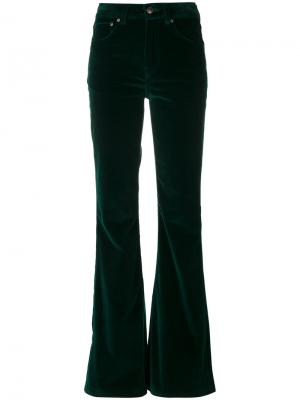 Расклешенные бархатные брюки Rockins. Цвет: зелёный