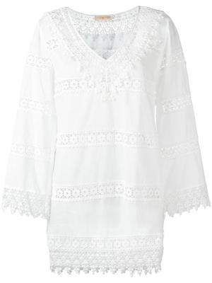 Floral embroidered detail dress Tory Burch. Цвет: белый