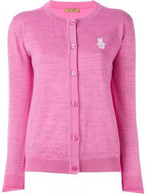 Кардиган с вышитым логотипом Peter Jensen. Цвет: розовый и фиолетовый
