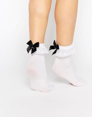 Leg Avenue Кружевные носки с бантиками и оборками