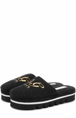 Домашние туфли с вышивкой Dolce & Gabbana. Цвет: черный