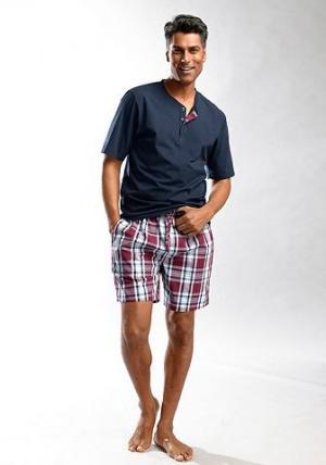 Пижама, , короткий покрой H.I.S. Цвет: синий морской с бордовым