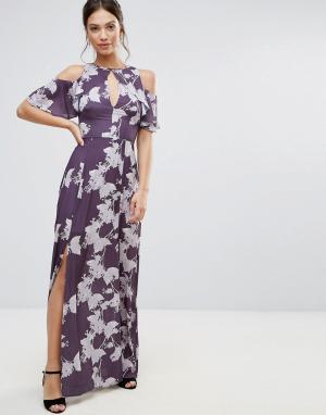 Hope and Ivy Платье макси с цветочным принтом &. Цвет: фиолетовый
