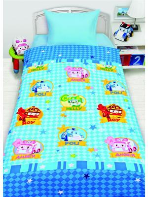Комплект постельного белья 1,5сп робокар Robocar Poli. Цвет: голубой