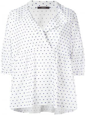 Блузка в горошек Odeeh. Цвет: белый