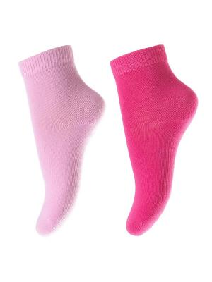Носки трикотажные для девочек, 2 пары в комплекте PlayToday. Цвет: розовый