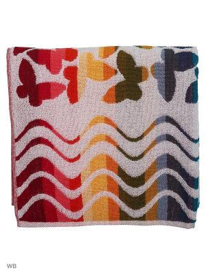 Полотенце махровое пестротканое жаккардовое Весенние бабочки Авангард. Цвет: бледно-розовый, кремовый, светло-коричневый