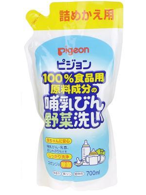 Средство для мытья детской посуды и овощей, сменный блок, 700мл. PIGEON. Цвет: прозрачный