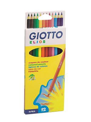 GIOTTO ELIOS 12 цв.AST Цветные карандаши гексогональные шт. FILA. Цвет: желтый, белый, синий