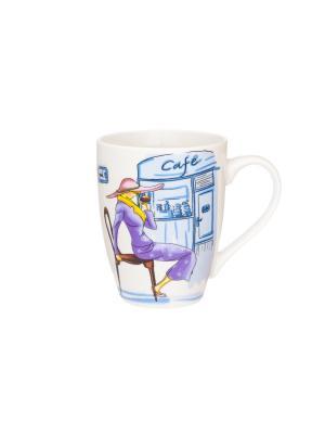 Кружка Модница фиолетовая Elan Gallery. Цвет: фиолетовый, желтый, голубой