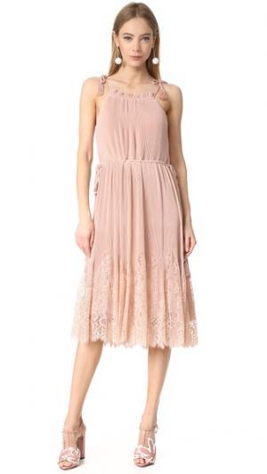 Плиссированное комбинированное платье Lillan с кружевной отделкой Whistles. Цвет: бледно-розовый