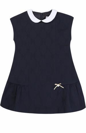 Трикотажное мини-платье с контрастным воротником Tartine Et Chocolat. Цвет: синий
