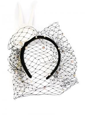 Ободок с вуалью и перьями Piers Atkinson. Цвет: чёрный