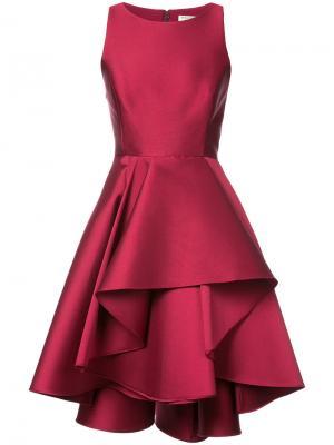 Платье с оборчатой юбкой Halston Heritage. Цвет: красный