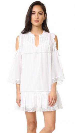 Платье с открытыми плечами и защипами Love Sam. Цвет: лебединое перо