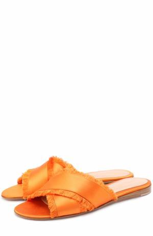Атласные шлепанцы Barth с бахромой Gianvito Rossi. Цвет: оранжевый