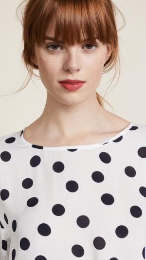 Dot Voile Tie Front Blouse Three Dots