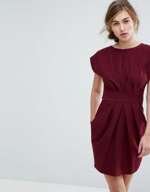 Closet London Платье-тюльпан. Цвет: красный