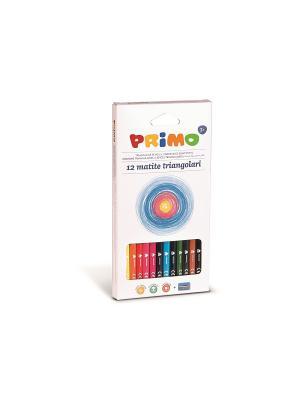 Цветные карандаши. 12 цв с точилкой Primo. Цвет: синий