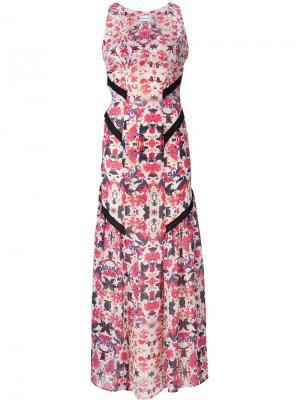 Длинное платье с цветочным принтом Sam & Lavi. Цвет: белый