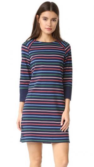 Платье с пуговицами сбоку и бретонскими полосками Chinti and Parker. Цвет: индиго/мульти