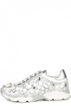 Кожаные кроссовки с декором AM66. Цвет: серебряный
