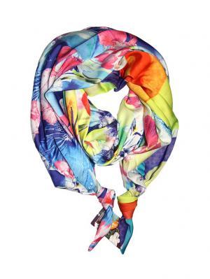 Двойной шелковистый шарф-долька с узелками; серия Апрель Оланж Ассорти. Цвет: синий, лиловый, светло-желтый