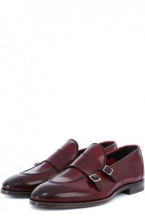Кожаные монки с двумя пряжками H`D`S`N Baracco. Цвет: бордовый
