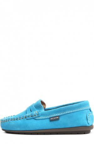 Замшевые мокасины с перемычкой Atlanta Mocassin. Цвет: голубой