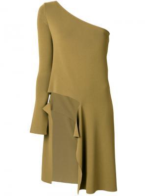 Асимметричное платье на одно плечо MRZ. Цвет: зелёный