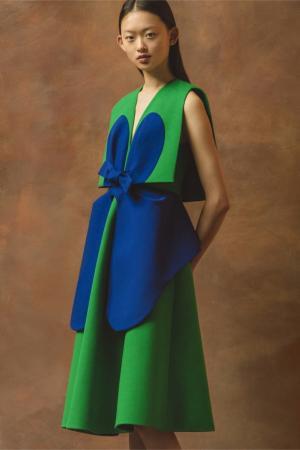 Хлопковое платье Delpozo. Цвет: зеленый, синий