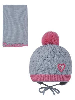 Шапка, шарф Pro-han. Цвет: серый, розовый