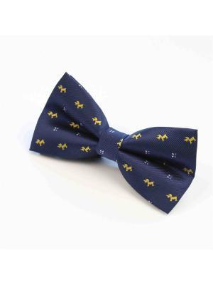 Галстук-бабочка Churchill accessories. Цвет: темно-синий, синий, светло-оранжевый, желтый, черный