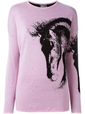 Свитер с изображением лошади Fausto Puglisi. Цвет: розовый и фиолетовый
