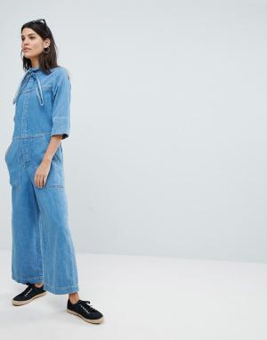 MiH Jeans Комбинезон с воротом на завязке и широкими штанинами. Цвет: синий
