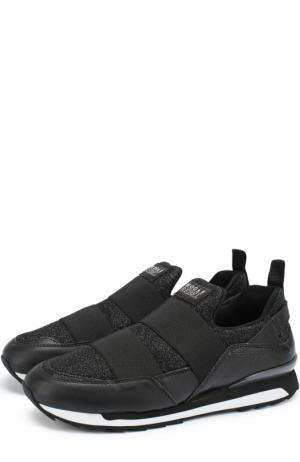 Комбинированные кроссовки с глиттером Hogan. Цвет: черный