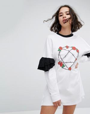 The Ragged Priest Платье с оборками на рукавах Heartagram. Цвет: белый