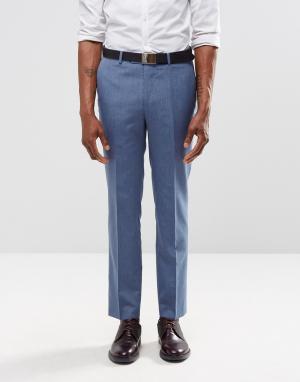 Harry Brown Голубые брюки слим. Цвет: синий