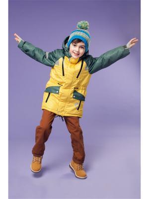 Куртка Oldos. Цвет: желтый, зеленый