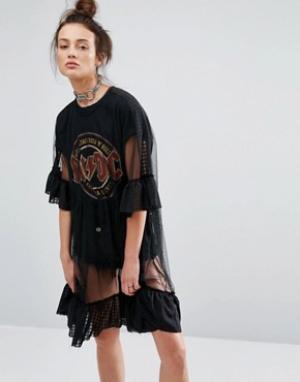 The Ragged Priest Платье с сетчатыми вставками и рюшами по краям. Цвет: черный