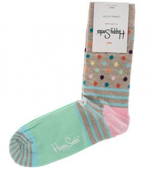 Высокие хлопковые носки Happy Socks. Цвет: полоска