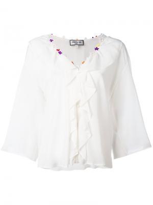 Блузка с отделкой оборками Paul & Joe. Цвет: серый