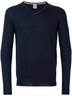 Пуловер с V-образным вырезом Eleventy. Цвет: синий