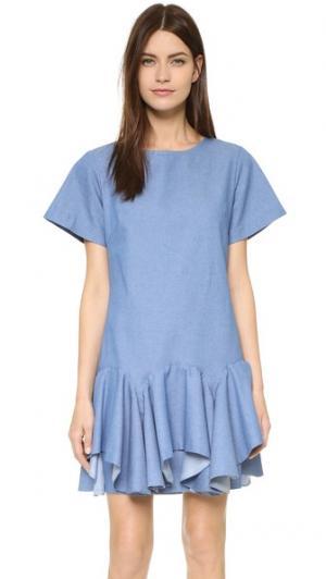 Расклешенное платье с оборками спереди Viva Aviva. Цвет: шамбре