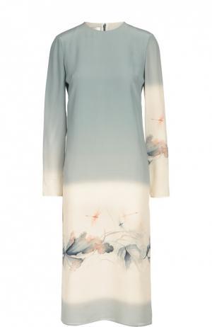 Шелковое платье прямого кроя с принтом Valentino. Цвет: светло-голубой