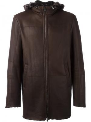 Пальто с капюшоном Drome. Цвет: коричневый