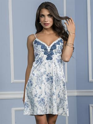 Ночная сорочка MIA-MELLA. Цвет: голубой, белый