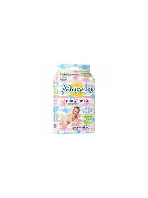 Подгузники детские одноразовые, размер M, 6-11 кг, 62 шт./упак Maneki. Цвет: белый