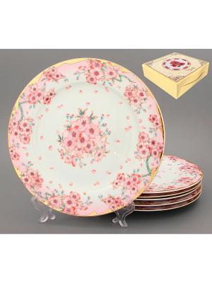 Набор обеденных тарелок Сакура Elan Gallery. Цвет: розовый