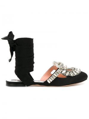 Декорированные сандалии Rochas. Цвет: чёрный